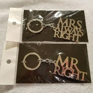 Mr. Right & Mrs. Always Right Keychain Set Wedding