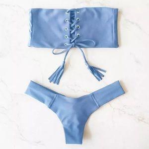 Baby blue bandeau lace up bikini