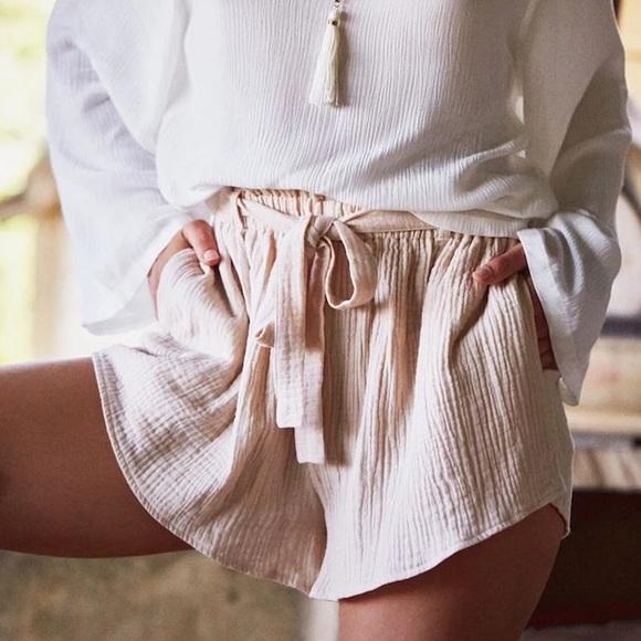 Shorts - Linen High Waist Boho Shorts