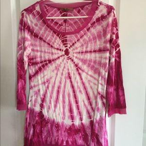 Belldini tye dye pink top with studs
