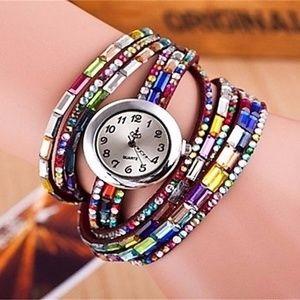 Colorful Leather Wrap Bracelet Watch