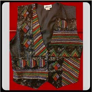Vintage 90's EFFECI Beaded Sequins Geometric Vest
