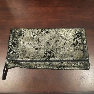 Never used M. Andonia foldover black & gold clutch