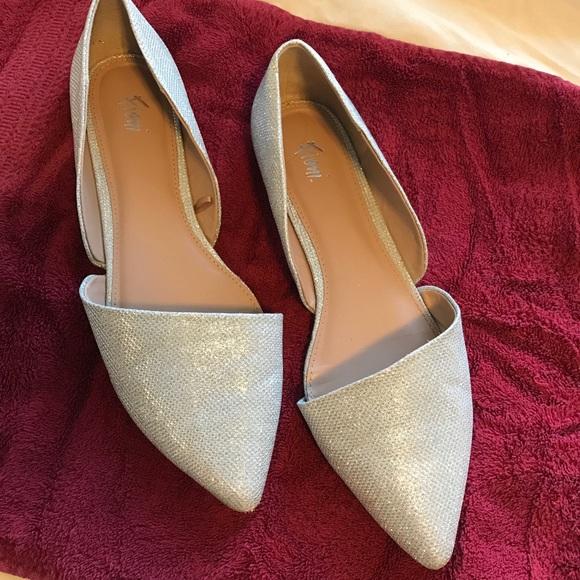 d02570797658e1 FIONI Clothing Shoes | Womens 12 Silver Pointytoe Dorsay Flats ...