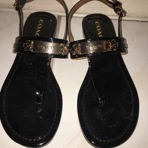 Coach Black Patent Leather Sandals