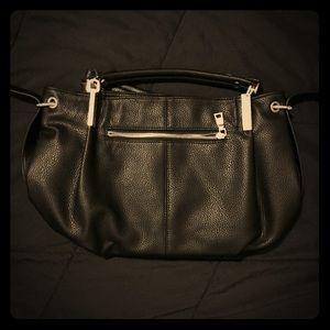 Manmade Leather Black Shoulder Bag