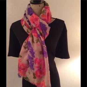 J. Crew floral merino wool scarf