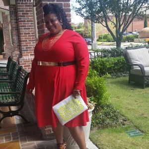 Red Crepe fit and flare dress