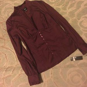 🌷MOSSIMO🌷stretch merlot ruffle trim fit blouse