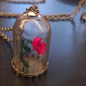 Jewelry - Beauty And The Beast living flower jar necklace