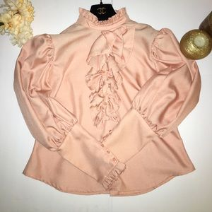 Exclusively Designed Puff Shoulder Ruffled Blouse
