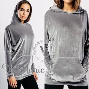 ✅RESTOCKED✅ GORGEOUS Silver Grey Velvet Hoodie