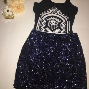H&M Sequin Mini Skirt w/ Evil Eye Blouse Cami