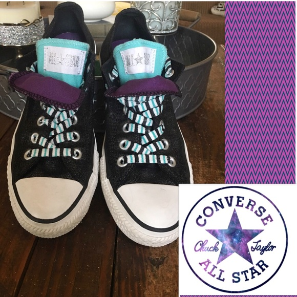 b3f179727a8c Converse Shoes - Sparkle Black Double Tongue Converse All Stars