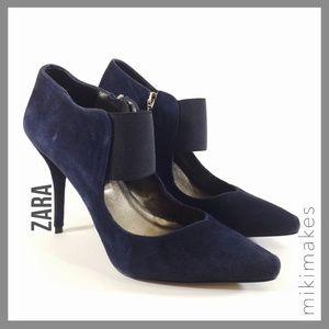 [ zara ] navy suede heels elastic band platform