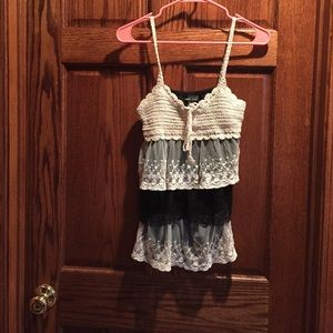 Crochet and Lace Tiered Ruffled tank