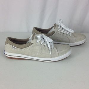 Keds Striped Beige Lace Up Sneakers 7M Ortholite
