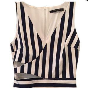 Striped Cutout Short-all Romper/Jumpsuit
