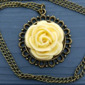 New yellow flower necklace, boho necklace