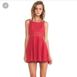 Free People pink daisy cutout mini dress