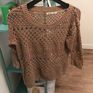 Tan Crochet size small 3/4 sweater