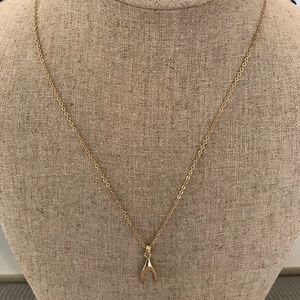 Jewelry - Wishbone necklace in gold metal