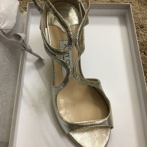 Jimmy Choo goldtone sandal heels