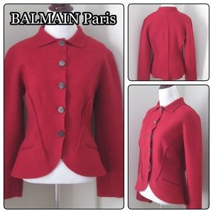 24 Hour SALE 🎉 BALMAIN Red Wool Peplum Jacket 46