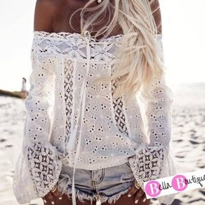Tops - Sexy Off  Shoulder Eyelet & Lace Bell Sleeve NWOT