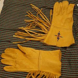 Accessories - Vintage  Beaded Genuine Leather Fringe Gloves