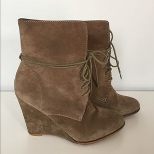 ZARA Suede Leather Lace UpPlatform Wedge Booties.