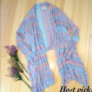 🌈Rainbow 🍭linen open waterfall cardigan - S/M