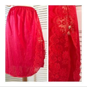 Saucy Red Lacey Vintage Half Slip, high slit! Sml