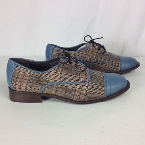 Lucky Penny Anthropologie Blue Plaid Lace Up Flats