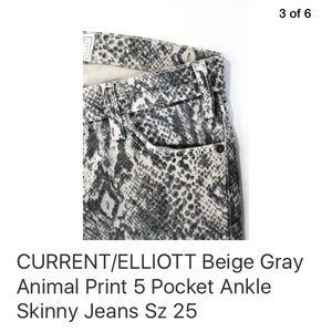 Current/Elliott Jeans - CURRENT/ELLIOTT PYTHON PRINT  SKINNY JEANS SZ 25