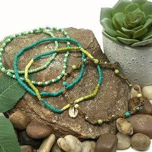 Jewelry - 5 Interchangeable Wooden Bead & Leather Anklets