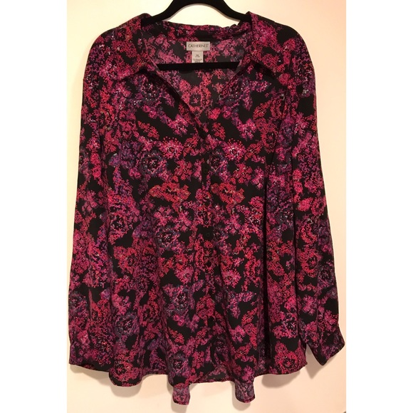 eaf542d21f2 Catherines Tops - Catherines Black   Pink Floral Pattern Blouse