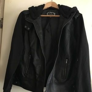 Vegan Leather Jacket w/ sweatshirt sleeves & hood