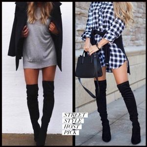 Shoes - 1 DAY SALE‼️Vegan Suede Over the knee boots