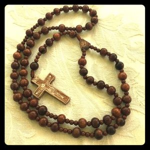 Jewelry - wooden bead rosary necklace