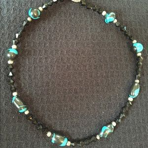 Turquoise & Black Beaded Necklace