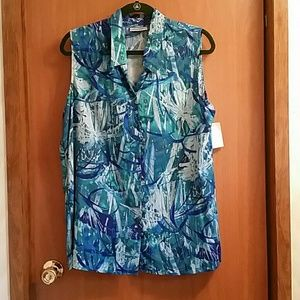 Print Button Front Blouse Top