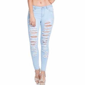 Denim - Plus--Kylee Distressed Jeans