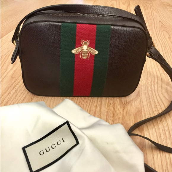 Authentic Gucci Webby Bee Crossbody Bag