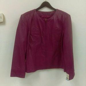 NWT John Paul Richard Berry Leather Jacket Sz 20