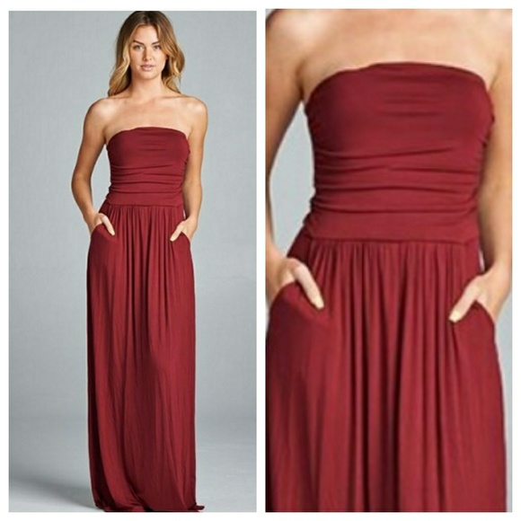 dc602f2f326c Burgundy Strapless Maxi With Pockets