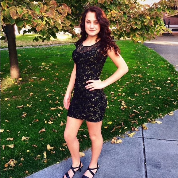 Formal Homecoming Dress Black Lace With Gold