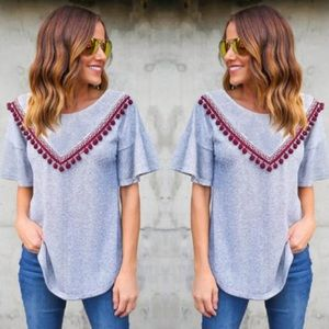 Tops - LAST ONE 5⭐️rating t-shirt w/pom-pom fringe detail