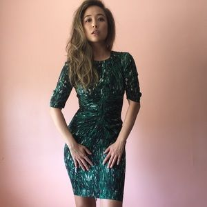Whistles Emerald Print Fitted Dress