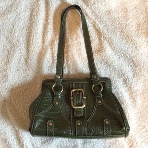 Handbags - Olive mock croc shoulder bag